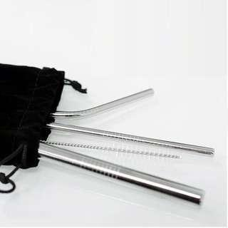 [FREE MAILING] Silver Stainless Steel Reusable Straw