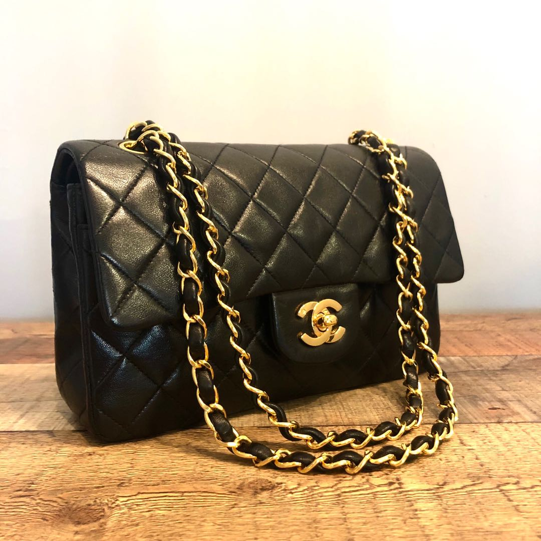 d20b7402aec2 Authentic Chanel 9 Inch Classic Flap Bag w 24k Gold Hardware, Luxury ...