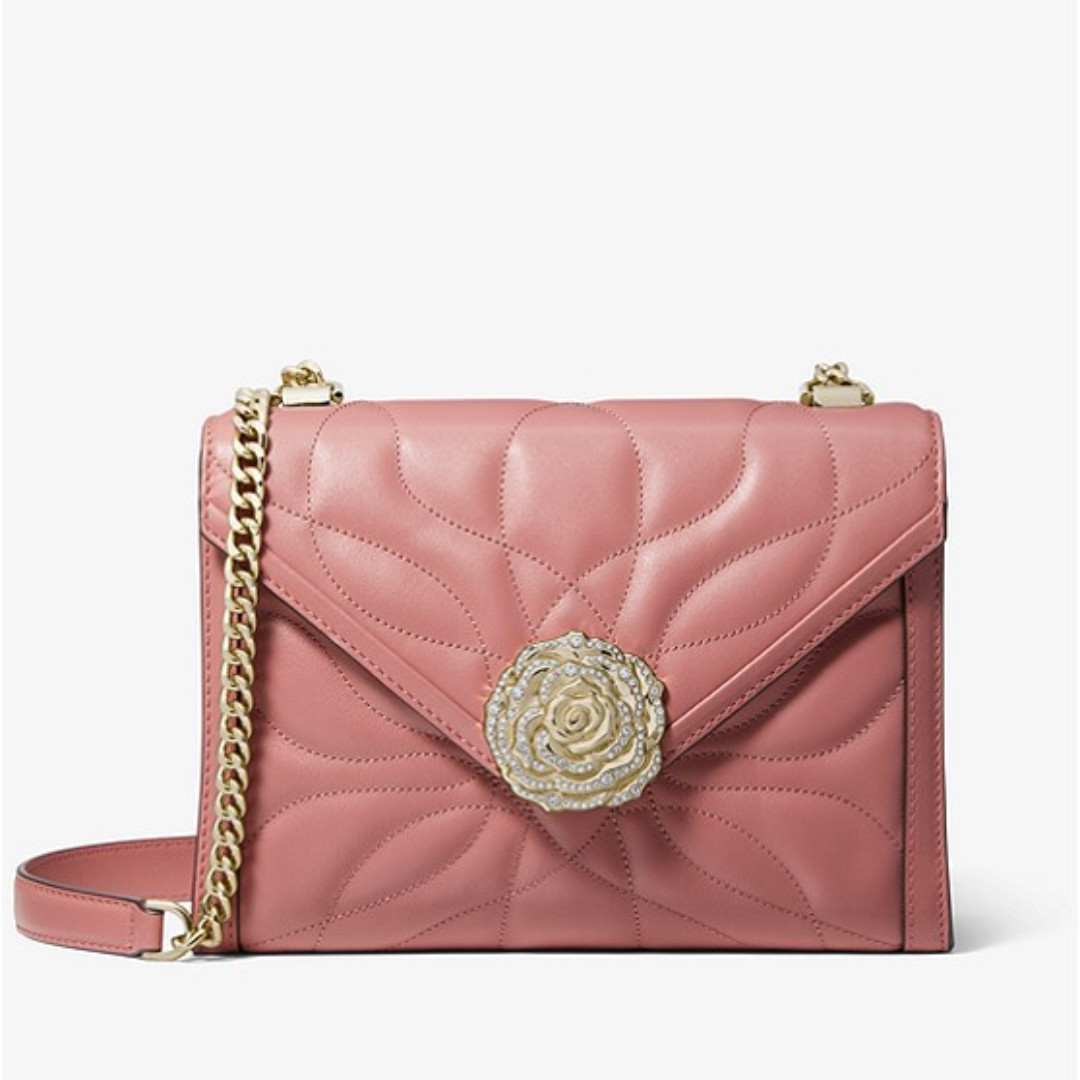 93f9d5575d35 Authentic MK Michael Kors Whitney Large Petal Quilted Leather ...