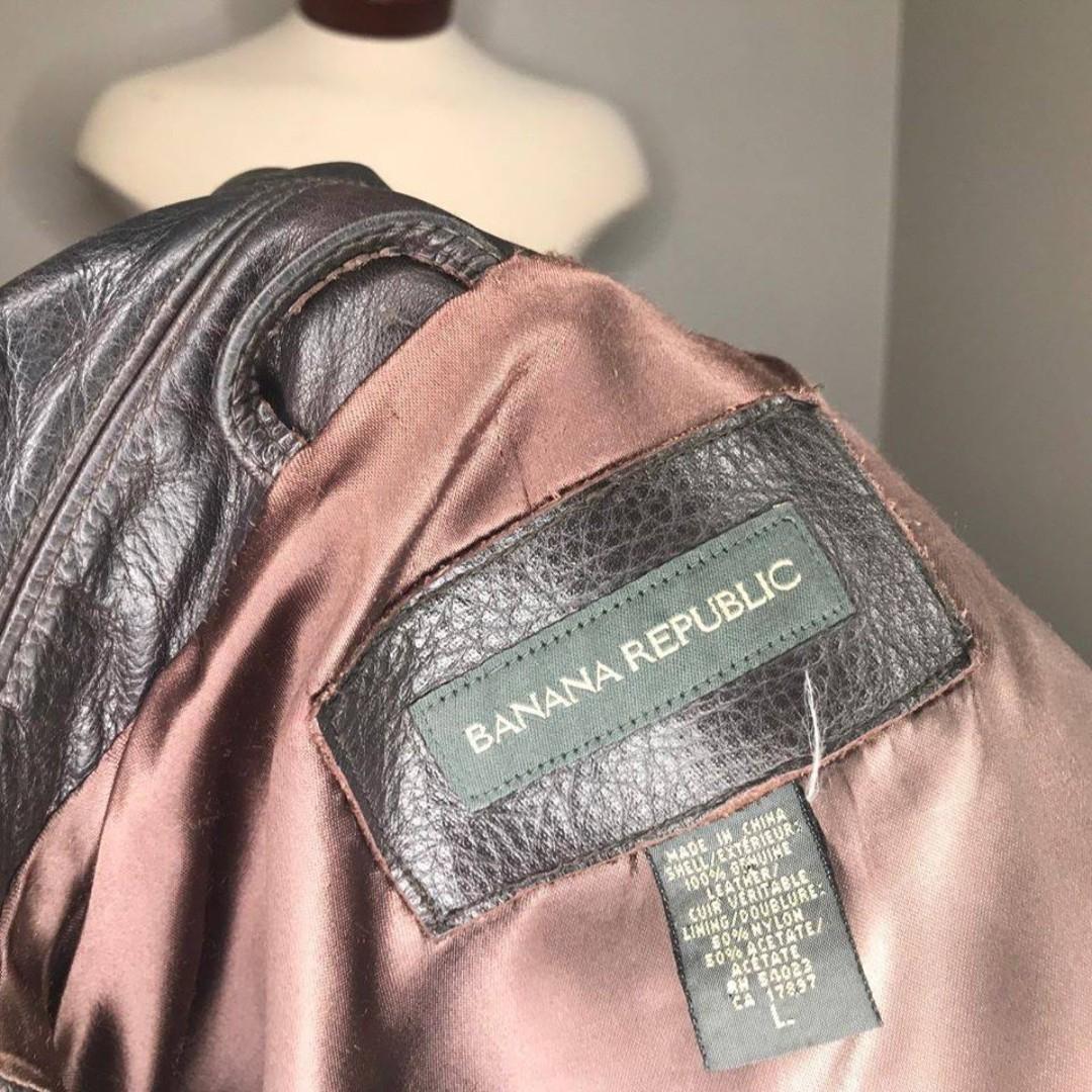 Banana Republic Mens  Chocolate Brown 100% Genuine Leather Jacket Men Large
