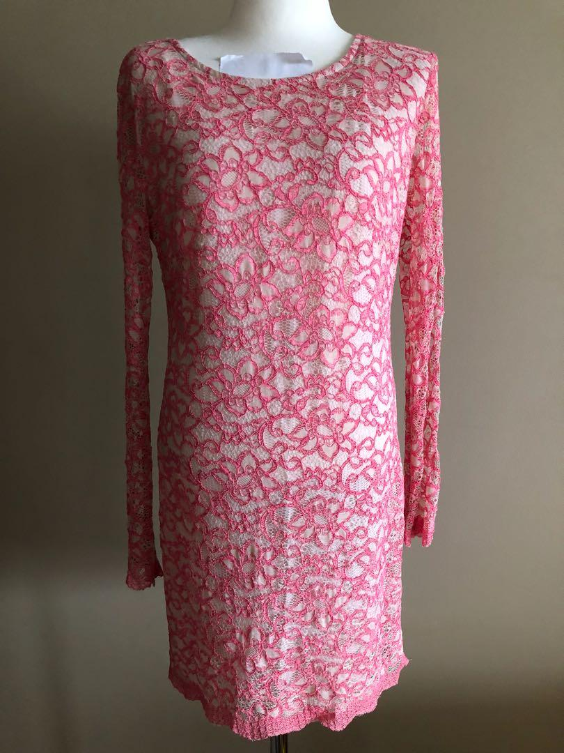 Bec Bridge lace pink dress, size 12, but more suitable for 8-10