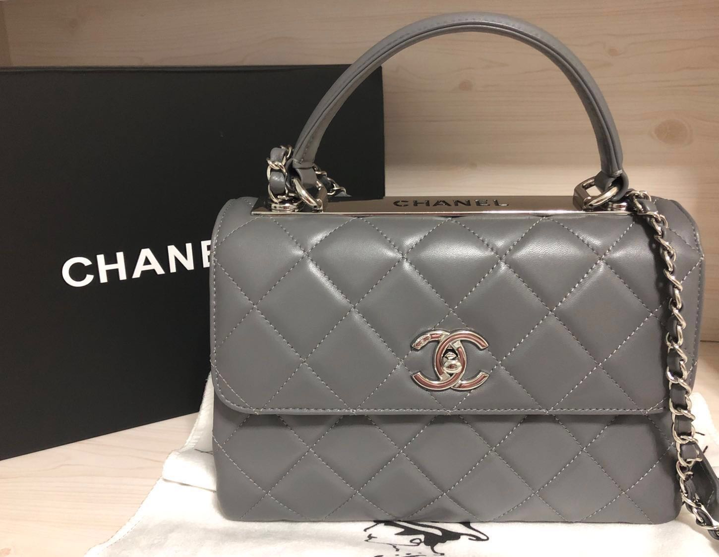 505860fe4ac8 Brand New Authentic Chanel Lambskin with Silver Tone Metal Small Flap Bag  with Top Handle Retail SGD7470 Full Set with Dust Bag