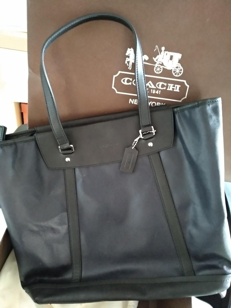 COACH men leather tote bag