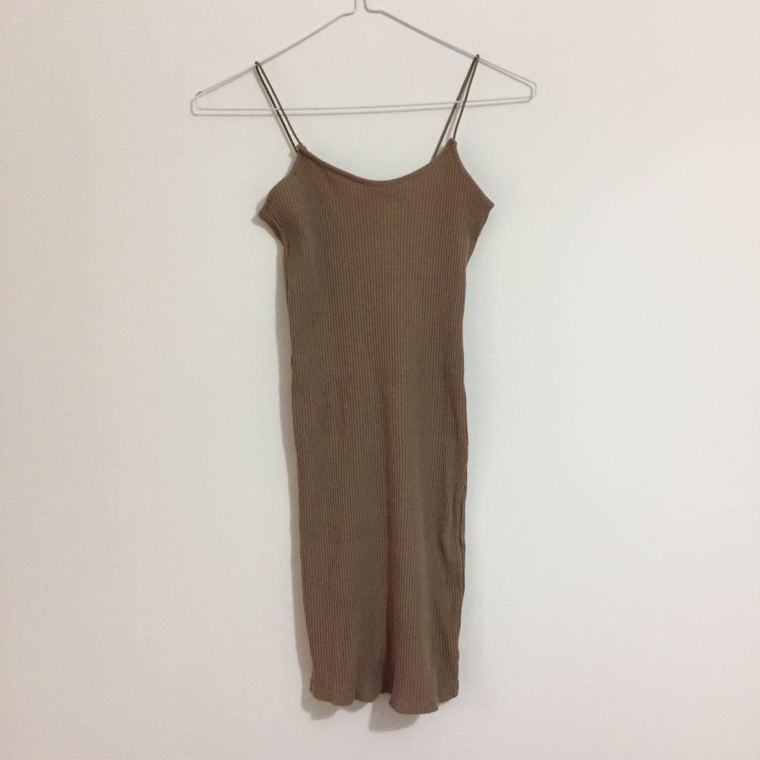 Dark beige tan ribbed Bodycon dress