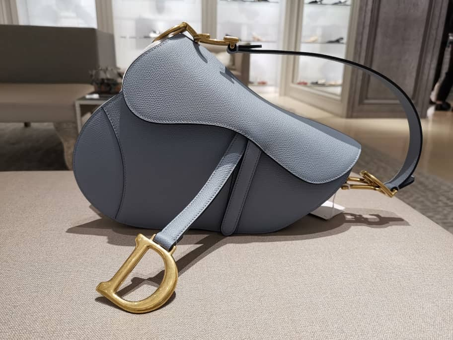 3a40290825a0 Dior grained calf leather saddle bag in cloud blue