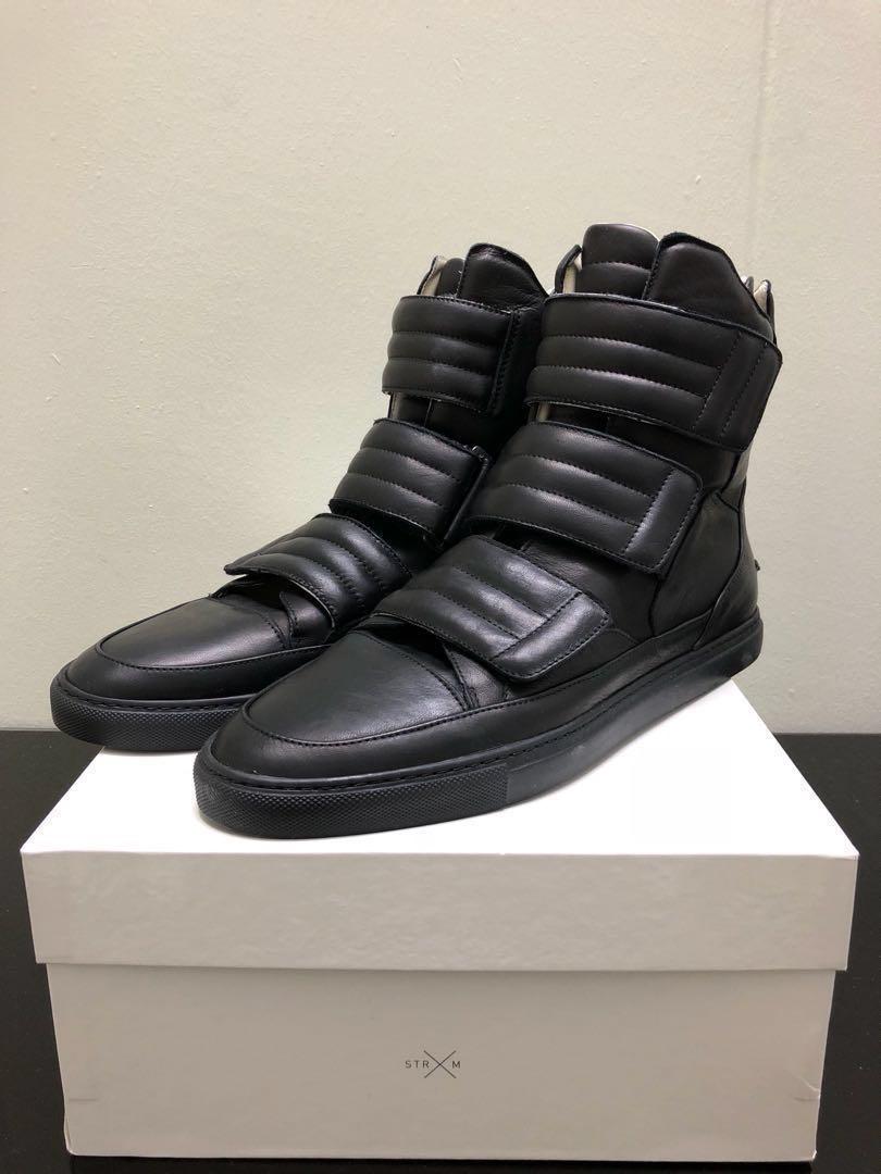 4901aecaf217 EU43 Strange Matter Italian Black Leather High Tops Sneakers
