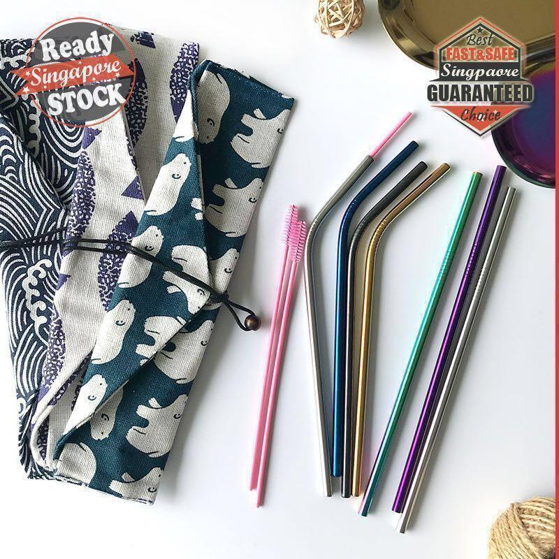 [FREE Gift] Food Grade Stainless Steel Metal Eco Friendly Reusable Straw Rose Gold Silver Durable Drinking Straws 304 Chrome Rainbow Black Blue Purple Round Edges Gift Idea Present Cloth Cotton Linen Pouch Bag Brush Cleaner