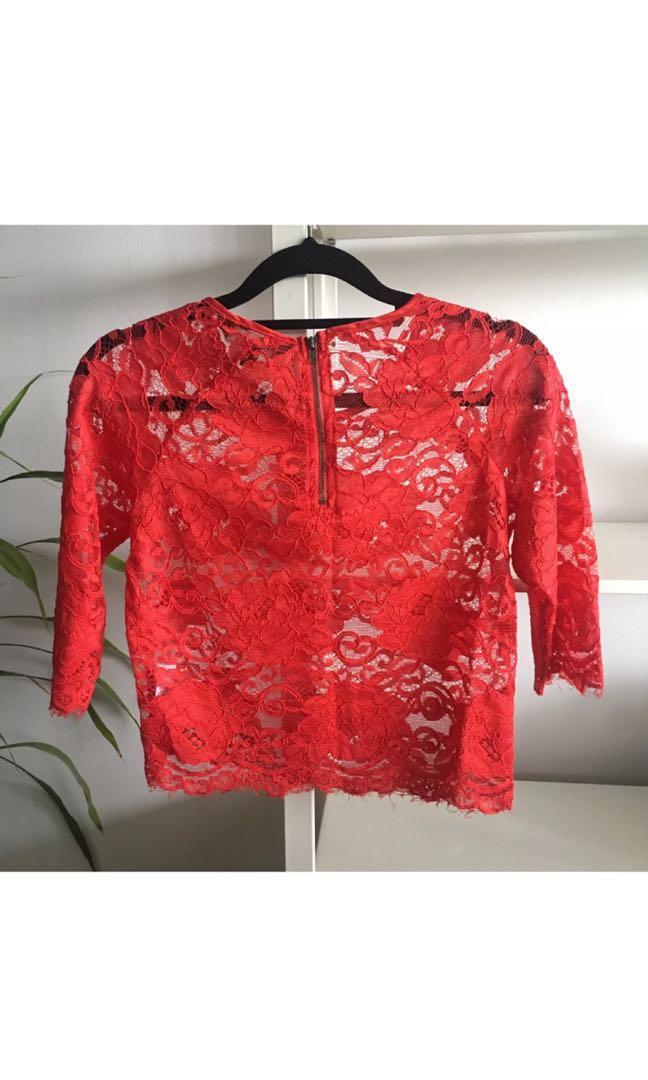 Glassons Red Lace Top