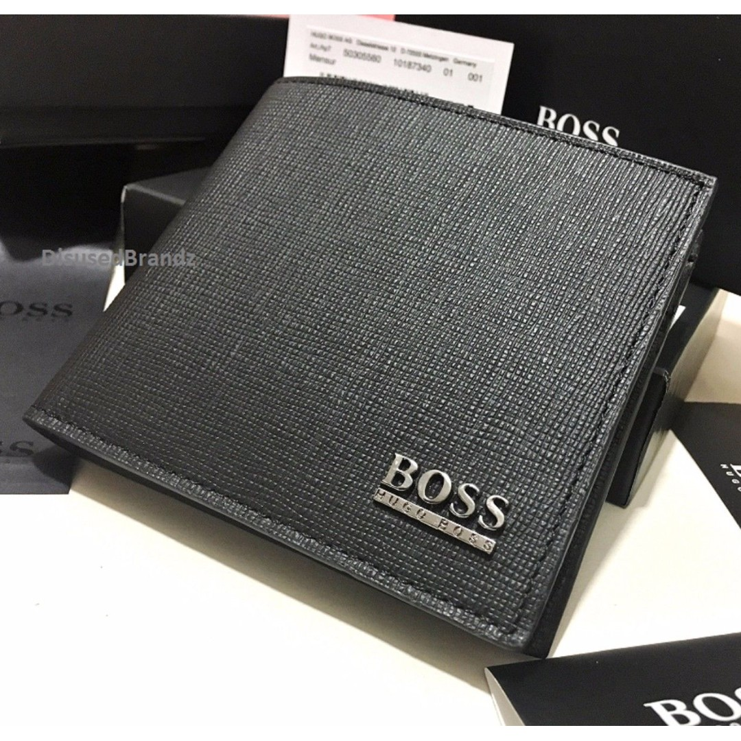 f58048cc13f Hugo Boss Bi Fold Black Leather Wallet, Men's Fashion, Bags ...