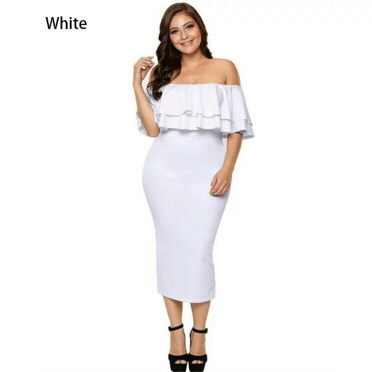 73fa71a69c0 [INSTOCKS] White Off-Shoulder Plus Size Stretchable Midi Dress @ $35.00 ,  FREE Normal Mail, Brand New Instocks
