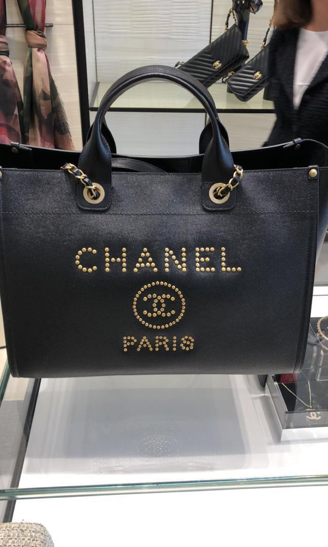 ada331289f5b LN Chanel Deauville leather tote bag