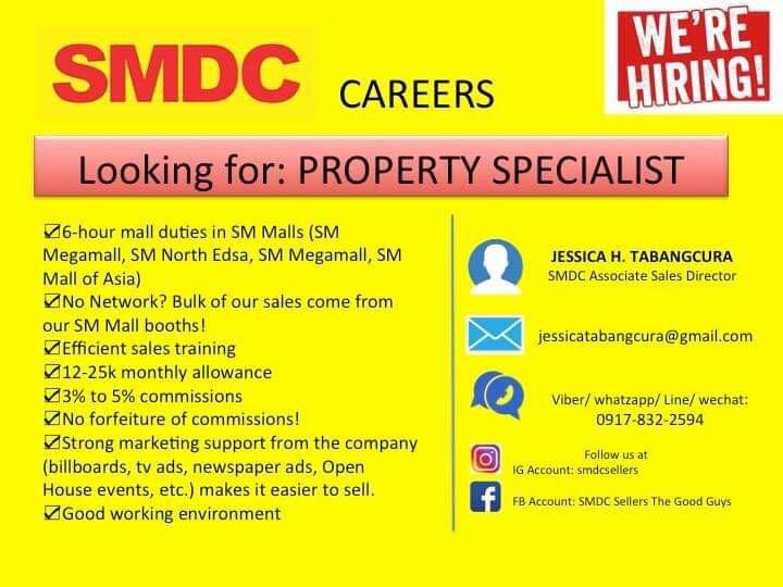Looking for Property Specialist (Sales Agent) in SMDC