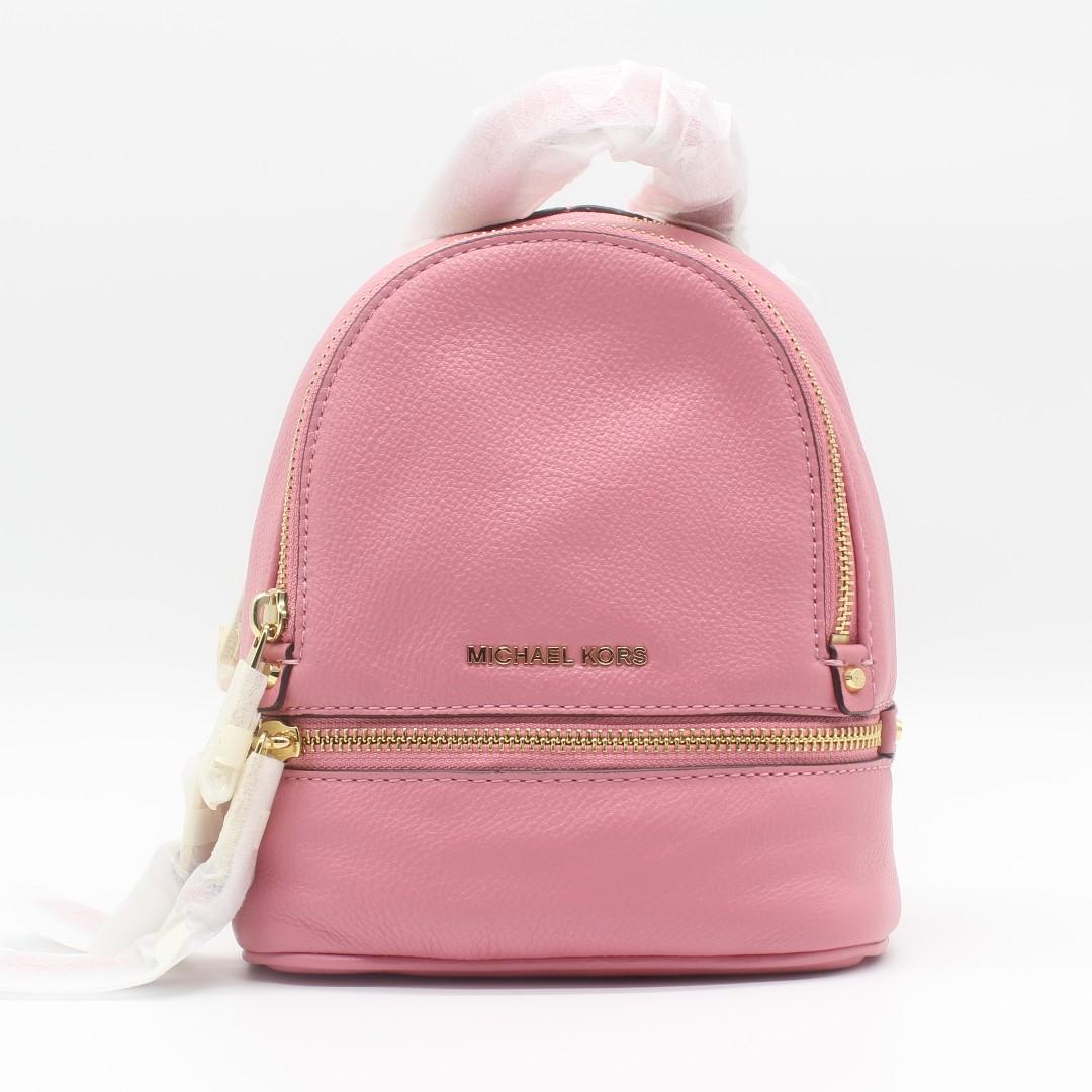 7122ced4fd8b Michael Kors Rhea Zip XS Messenger Backpack (Misty Rose/Pink ...