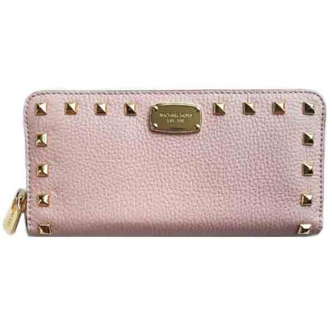 0fe5ee065537 NEW Michael Kors MK Women's Studded Continental Long Leather Wallet ...