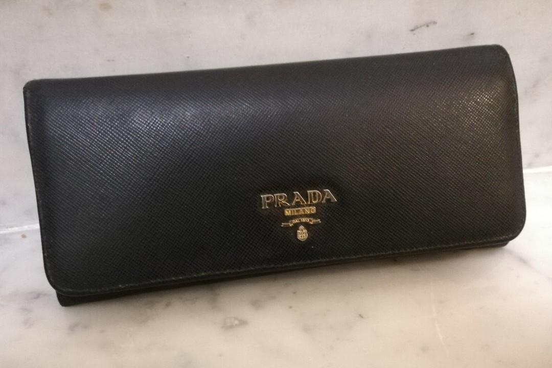 d4c99764614078 PRADA Saffiano Leather Wallet, Black, Luxury, Bags & Wallets ...
