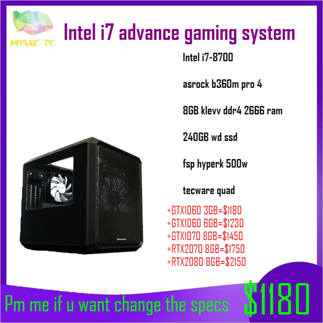 (Promo!!!) Intel i7-8700 advance gaming desktop pc(Pm me if u want change  the spec)