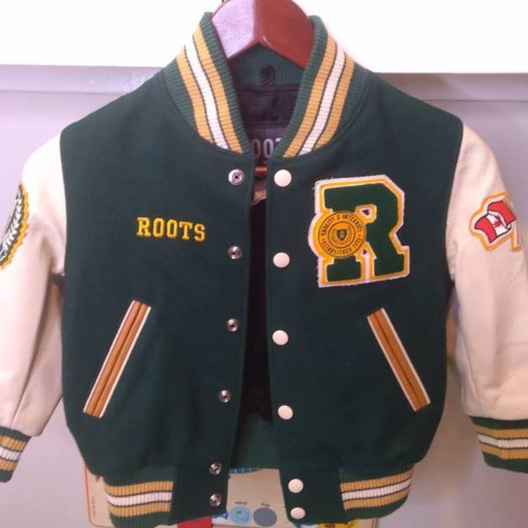 ROOTS Canada Varsity Jacket '73 Kids Size XS Excellent Condition! Leather/Wool