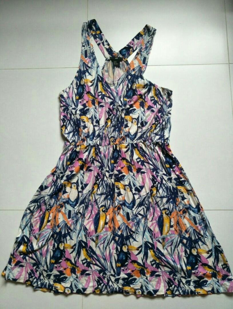 b99e3fea716 ⚡SALE🔛 BN  H M Bird Print Sleeveless Dress