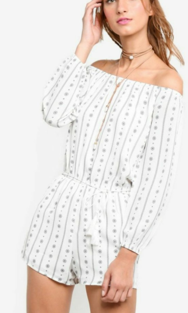 97c735259334 Something borrowed zalora white long sleeves off the shoulder printed romper