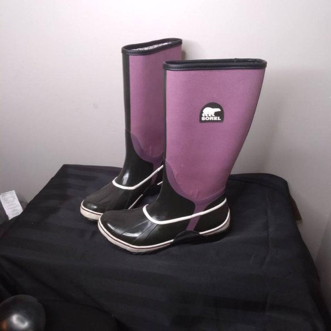 SOREL Sorellington Canvas Rubber Tall Rain   Boots Womens Size 10