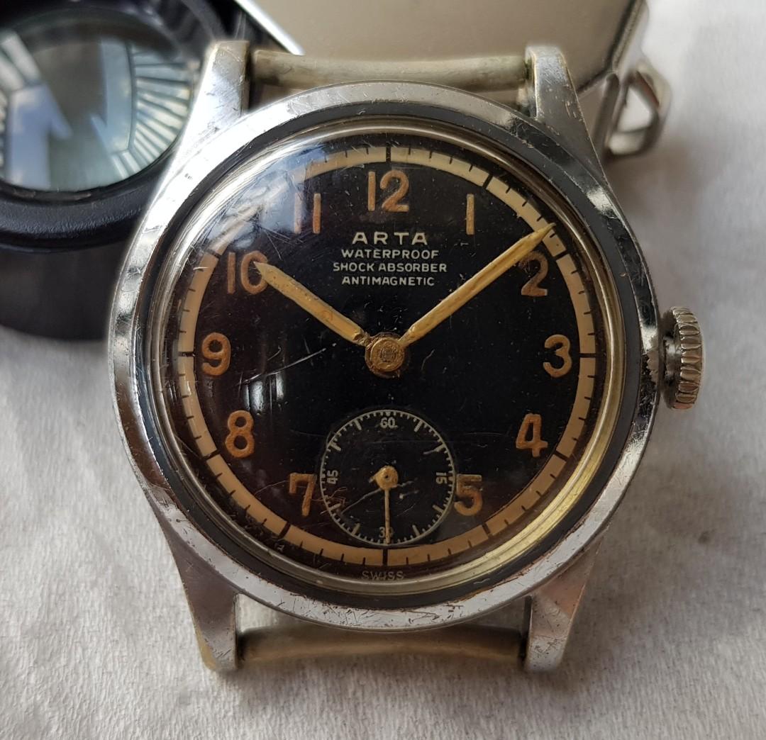 ca826d436af Vintage Arta military style manual wind watch