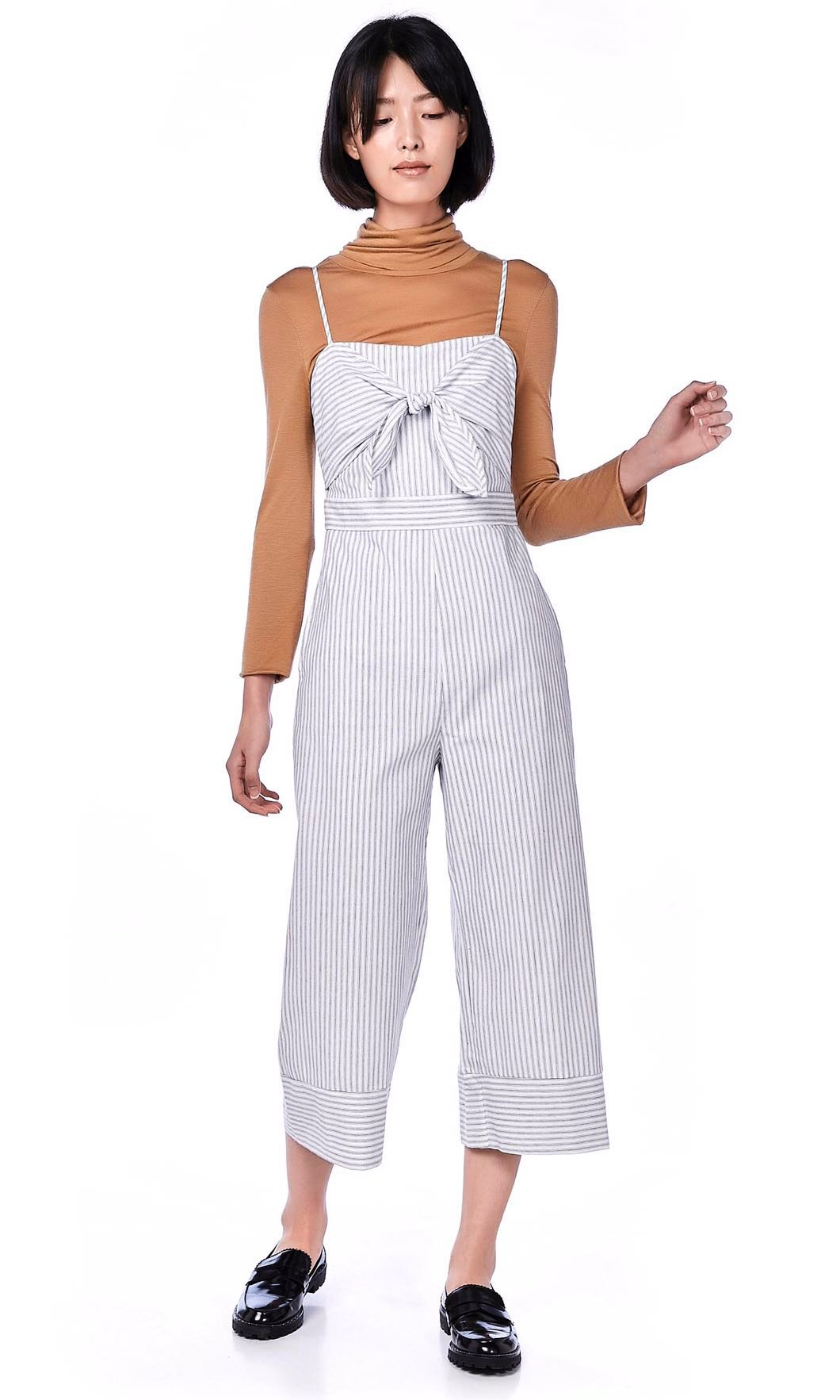 0b1a2876999a Yriana front-tie jumpsuit in black   white stripes size s