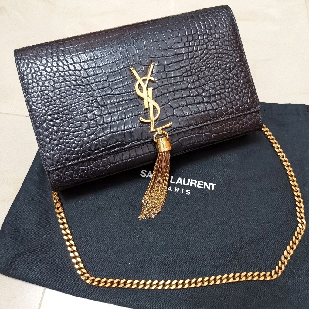 b00cd6abce YSL Yves Saint Laurent Paris Classic Kate Chain Crocodile Embossed ...