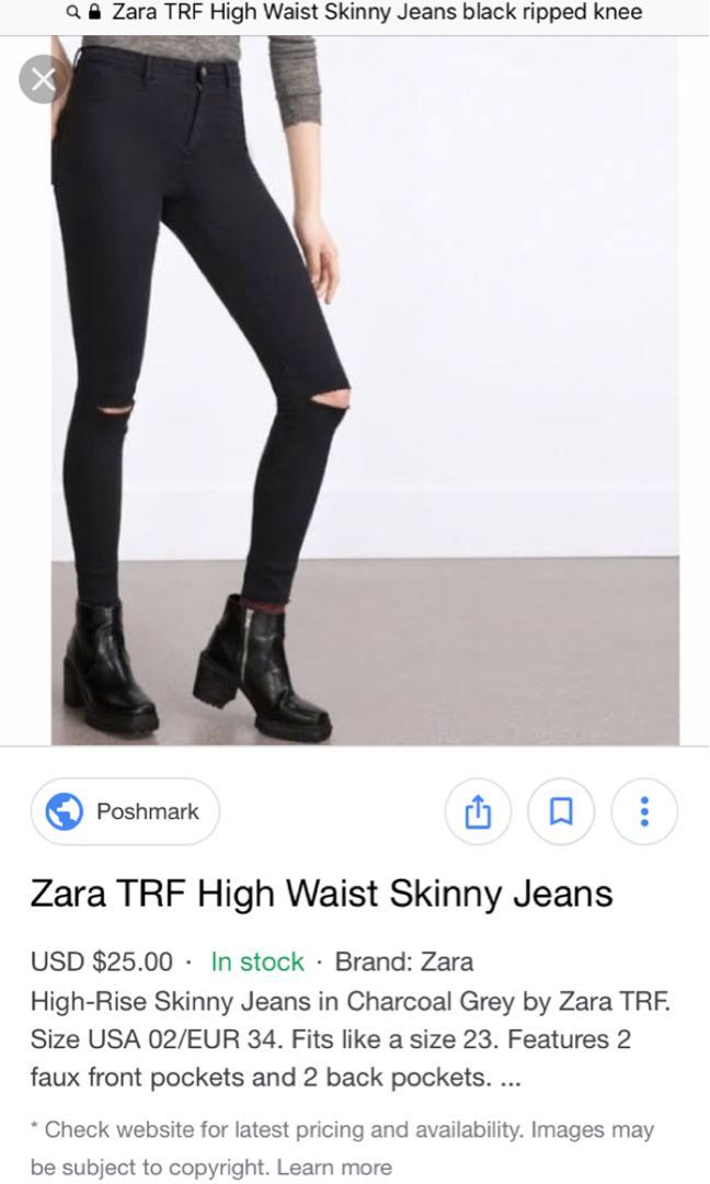 2fb14a43 Zara TRF Black High Waist Skinny Jeans, Women's Fashion, Clothes ...
