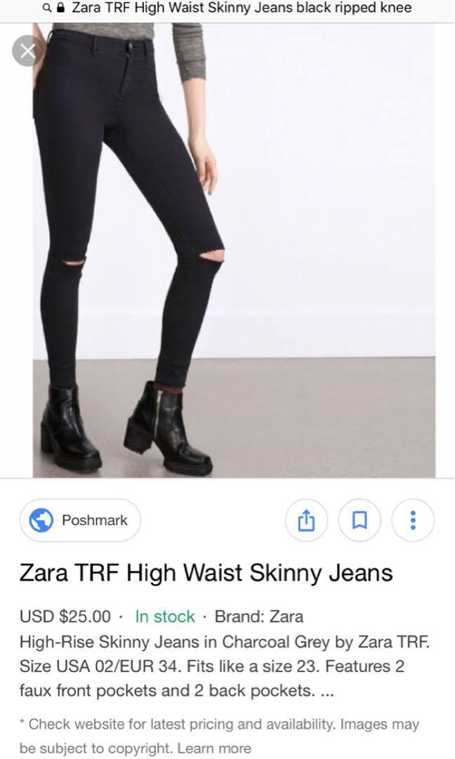 484cbbc745 Zara TRF Black High Waist Skinny Jeans on Carousell