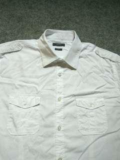 ESPRIT White Slimfit Work Shirt Short Sleeve Size L