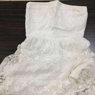 Abercrombie & Fitch White Tube Lace Dress