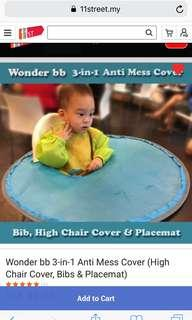 Wonder BB 3-in-1 anti-mess cover (high chair cover, bib and placemat)
