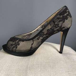ALDO Sexy Lacy Black Peep-toe Heels UK 6 / EUR 39