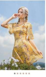 Polina Yellow Floral Dress