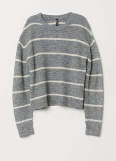 BNWT H&M Knit Sweater (M/Grey + White Stripes)