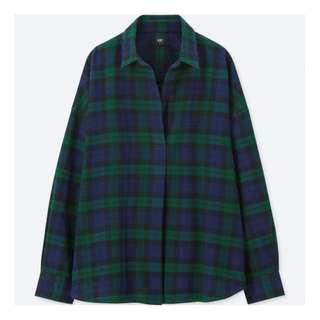 Uniqlo Flannel Check Skipper Collar Long Sleeve Shirt