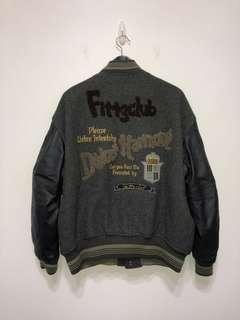 伏見古著 刺繡貼布復古棒球外套 皮袖 vintage