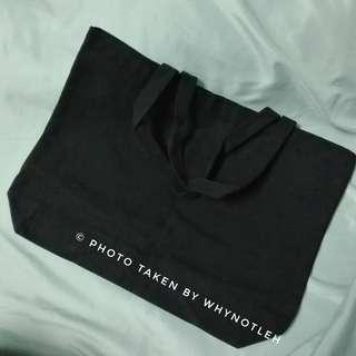 🚚 Plain Black Long Canvas Tote Bag