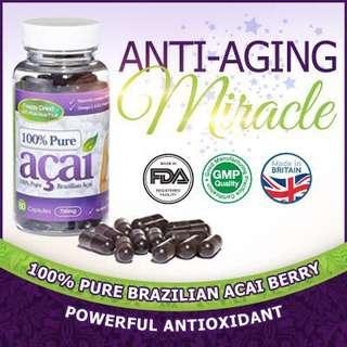 """🚚 Acai Berry🍇 is nicknamed the """"🧖🏻♀️Beauty Berry"""" because its combination of powerful anti-oxidants, amino acids and omega fatty acids makes our body feel and look better."""