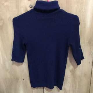 Turtleneck knit navy blue