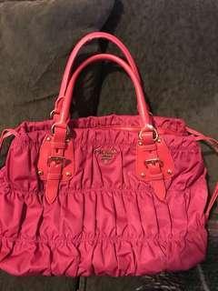 Prada Authentic Nylon Gathered Satchel Purse Handbag