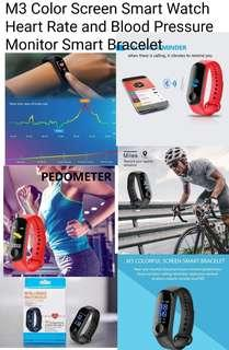 M3 Color Screen Smart Watch Heart Rate and Blood Pressure Monitor Smart Bracelet