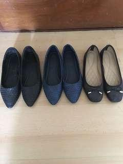 3 pairs flat shoes size 39