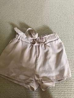 Nude paper bag shorts
