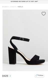 Dazie black block strappy heels