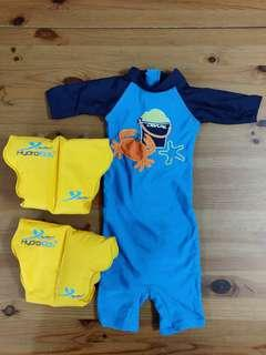 Ogival Swimming Suit and Hydro Kids arm floatation device