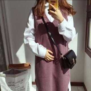 🚚 秋冬 紫藕色 美哭 背心裙 針織