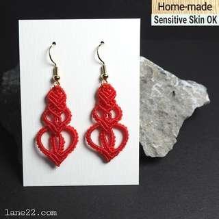 Homemade red macrame earrings  #CNY  // (handmade earrings micro macramé, stainless steel hooks available).( Lane22 Classic #1 )