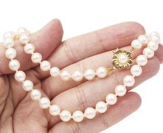 Beautiful Classic 6mm Pearl 14K Yellow Gold Necklace 18.8 Grams