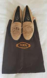 Tod's beige tan suede loafers BRAND NEW